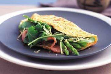 Asparagus, rocket and ham omelette