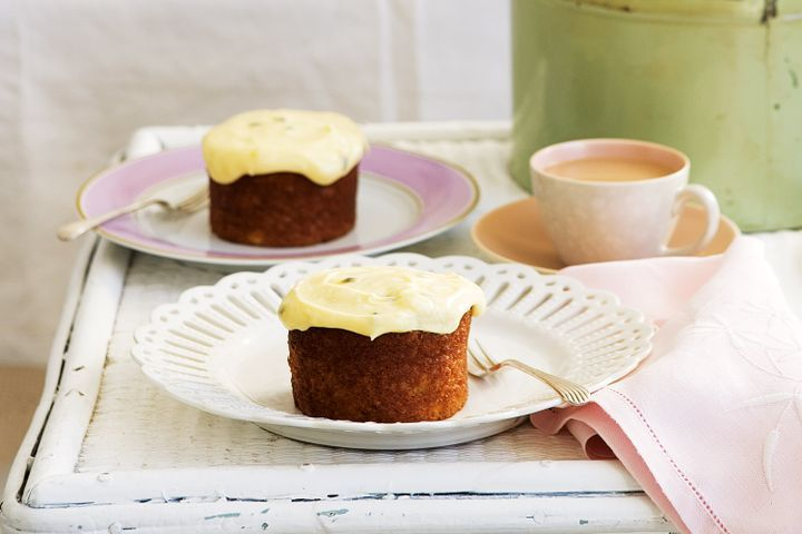 Banana cakes with passionfruit cream-cheese icing