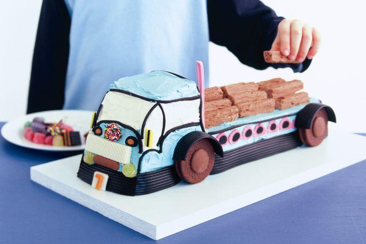 Big blue truck cake