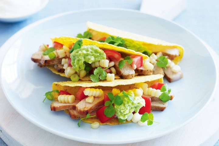 Cajun pork and snow white corn tacos