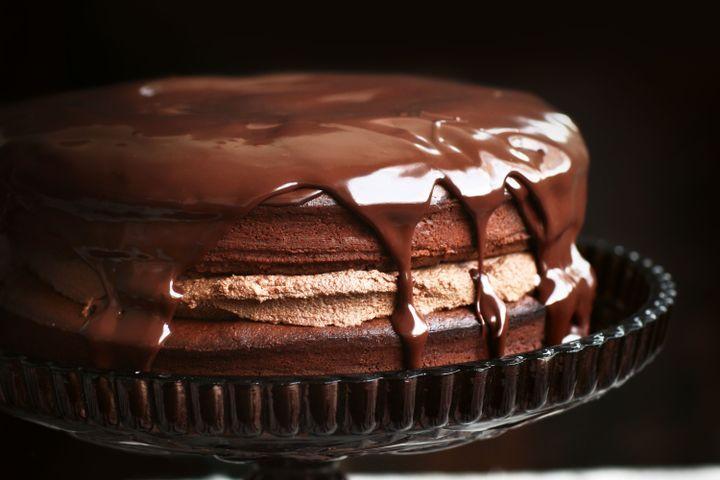 Chocolate truffle cake with chestnut cream and ganache