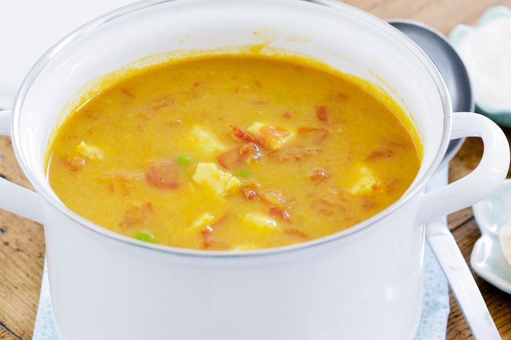 Curried fish soup with pappadums