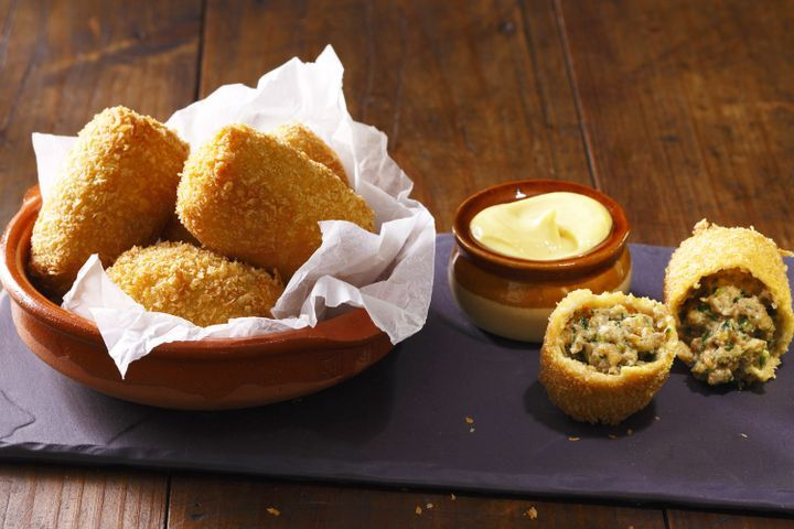 Dutch beef croquettes with hot English mustard mayo