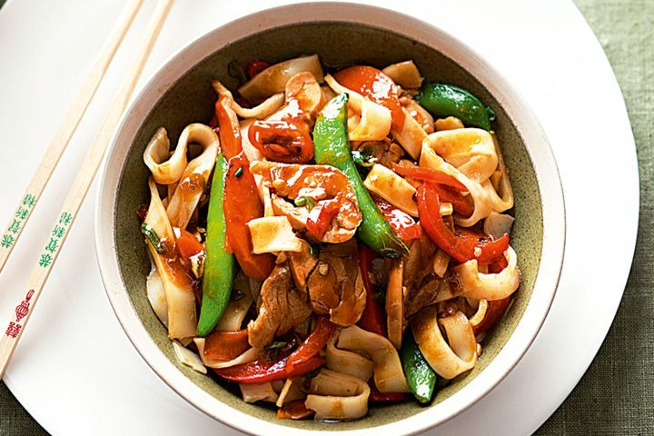 Hoisin chicken and rice noodle stir-fry