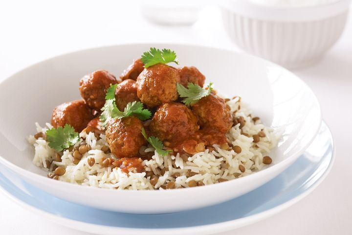 Indian meatballs with lentil pilaf and yoghurt