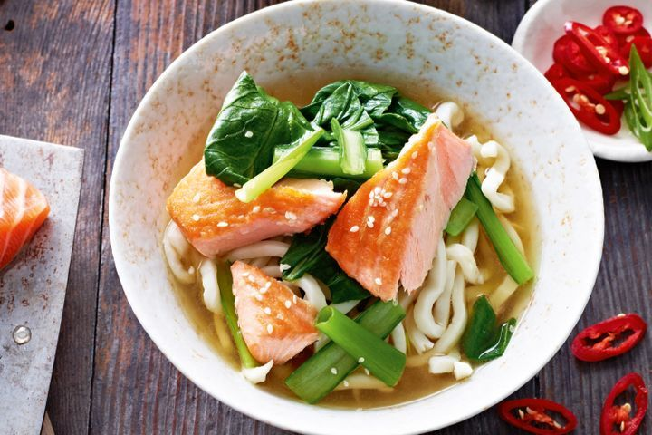 Miso broth with sesame salmon & udon noodles
