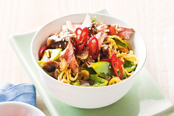 Mongolian lamb with noodles