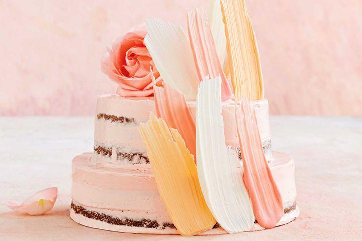 Pink lemonade brushstroke cake