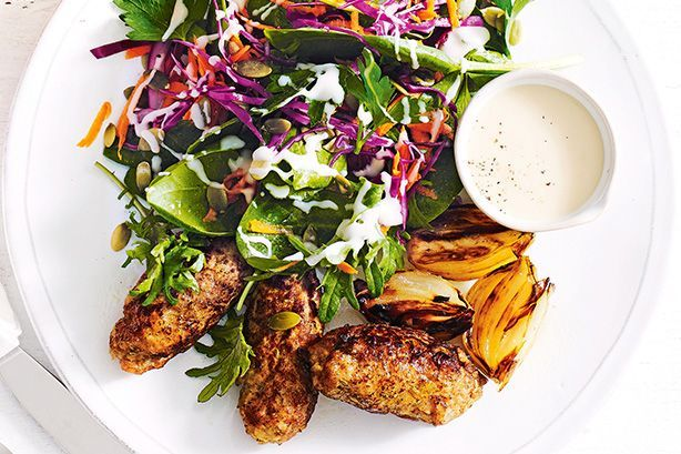 Pork and apple sausages with pepita coleslaw