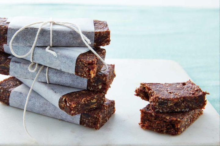 Raw chocolate, coconut and seed energy bars