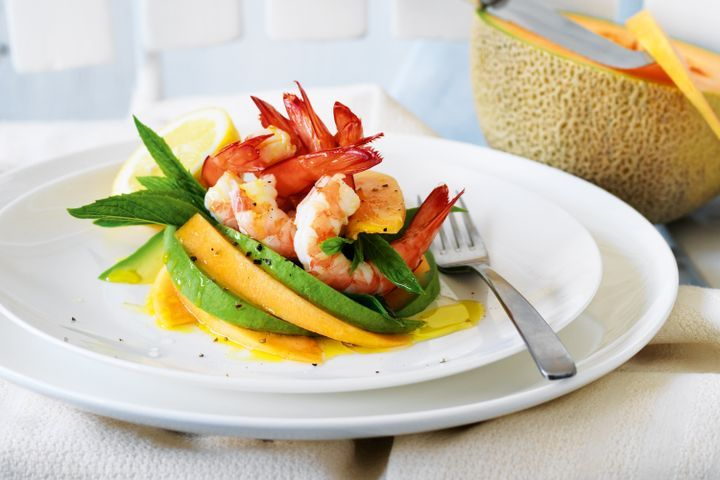 Rockmelon, prawn and avocado salad