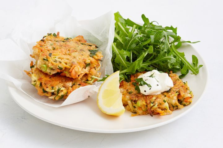 Salmon and white bean fritters