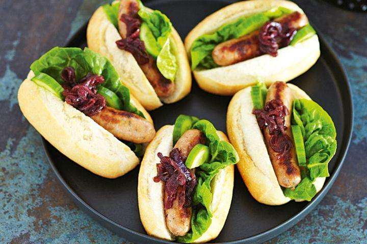 Sausage and caramelised onion rolls