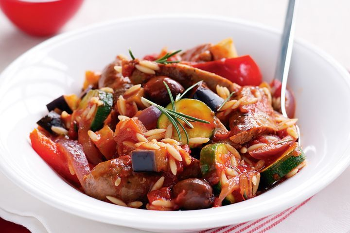 Sausage and risoni stew
