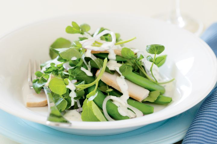 Smoked chicken, watercress & sugar snap pea salad