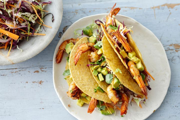 Smoked paprika and lime prawn tacos with pickled cabbage and avocado