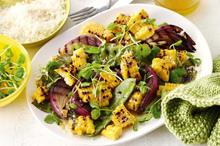 Smoky barbecued snow peas with chilli corn
