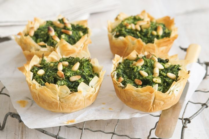 Spinach, feta and pine nut pies