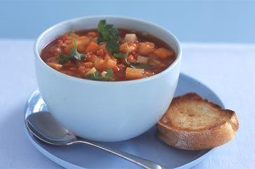 Tomato & vegetable red lentil soup