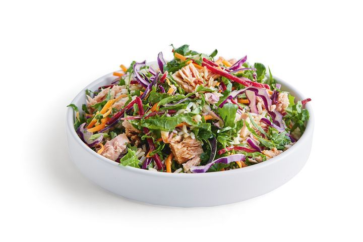 Tuna and kale rice salad with sesame soy dressing